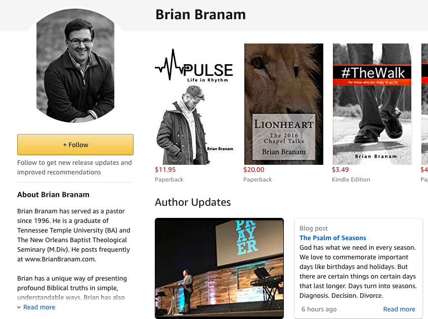 Author page for Brian Branam on Amazon.